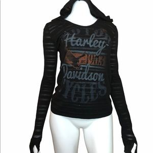 Harley-Davidson Semi Sheer Hooded Long Sleeve S